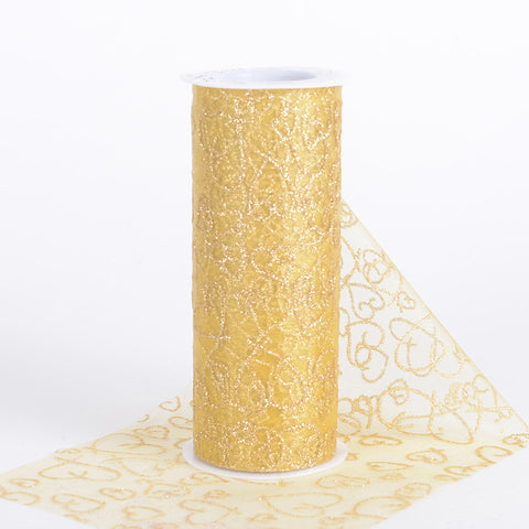 6 inch Glitter Hearts Organza Roll Old Gold ( W: 6 inch | L: 10 Yards ) - Ribbons Cheap