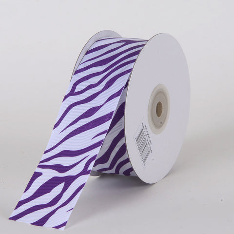 Grosgrain Ribbon Animal Print Purple ( W: 5/8 inch | L: 25 Yards ) -