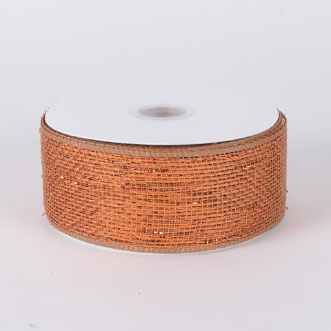 Metallic Deco Mesh Ribbons Copper ( 2.5 inch x 25 yards ) -