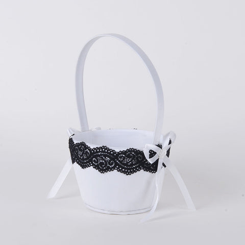 Flower Girl Baskets White Black ( 9 Inch ) -