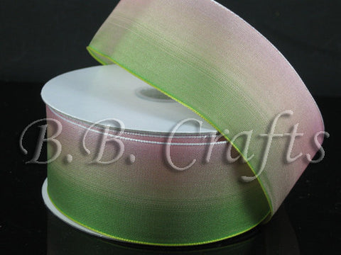 Ombre Ribbon Wired Edge Green Peach ( W: 1-1/2 inch | L: 25 Yards ) -