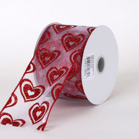 Valentine Ribbon White with Red ( 2.5 Inch x 10 Yards ) -
