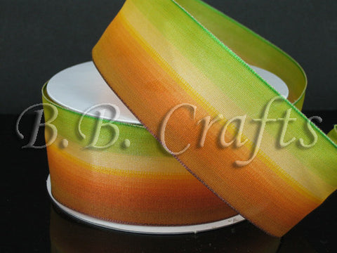 Ombre Ribbon Wired Edge Green Yellow Orange ( W: 1-1/2 inch | L: 25 Yards ) -