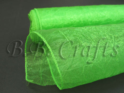 Premium Crinkle Organza Overlays Apple Green ( W: 24 inch | L: 10 Yards ) -