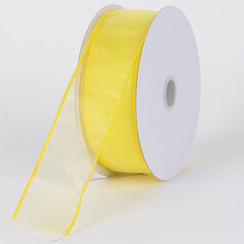 Organza Ribbon Thick Wire Edge 25 Yards Daffodil ( 2-1/2 inch | 25 Yards ) -