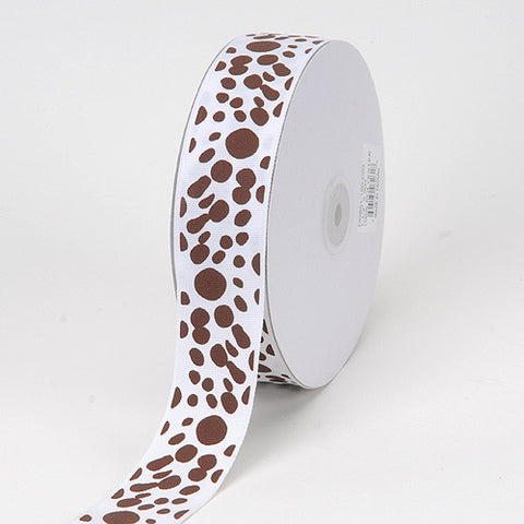 Grosgrain Ribbon Dalmatian Dots White ( W: 1-1/2 inch | L: 50 Yards ) -
