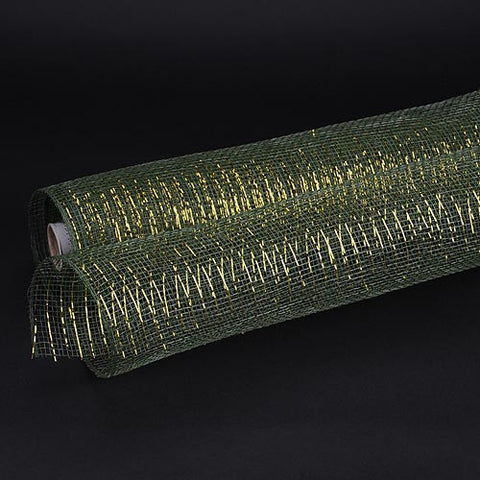 Deco Mesh Wrap Metallic Stripes Moss Green Gold Line ( 21 Inch x 10 Yards ) -