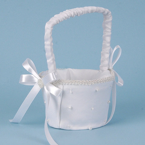 Flower Girl Baskets White ( 9 Inch ) -
