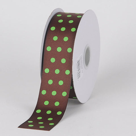Grosgrain Ribbon Color Dots Chocolate with Green Dots ( 1-1/2 inch | 25 Yards ) -