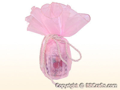 Giant Organza Circle Wrapper Pink With Pink Edge ( 18 inch | 12 Pieces ) -