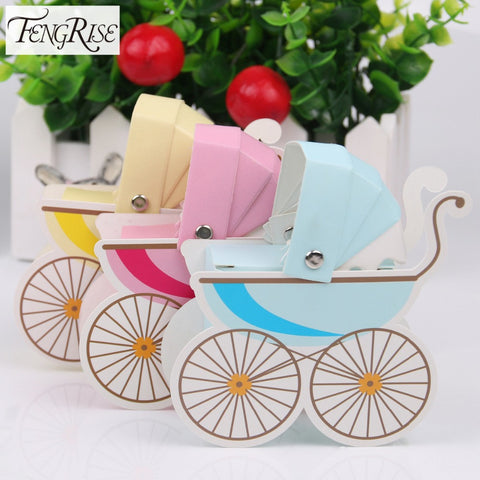 Baby Shower Stroller Shape Paper Candy Box - 10 PCS