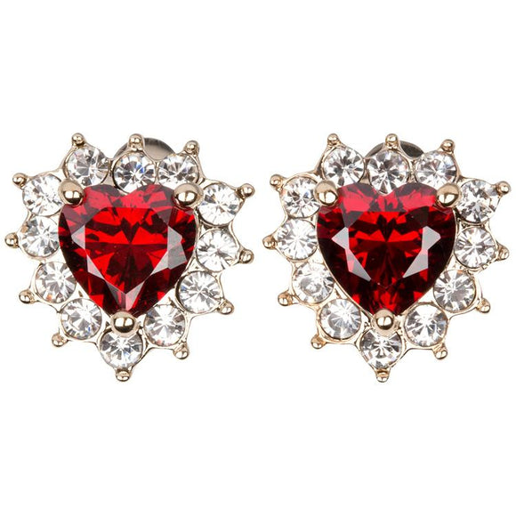 grace diamond and ruby heart earring