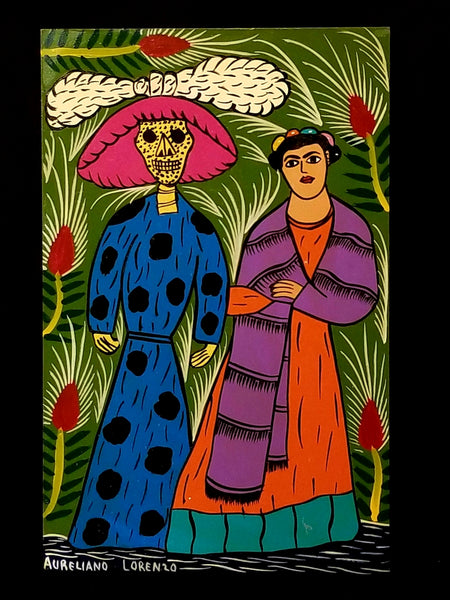 """Frida y La Catrina: Painting by Aureliano Lorenzo"