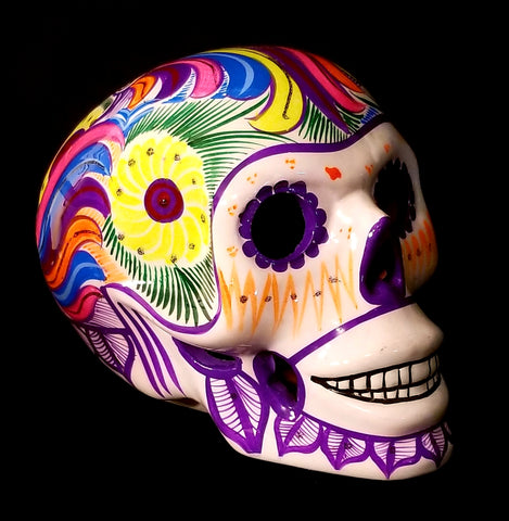 Large Painted Ceramic Skull