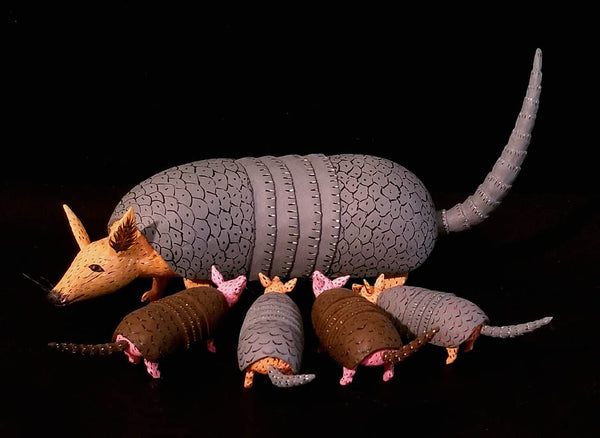 Armadillo Mother and Babies