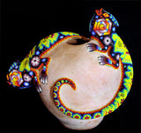 Beaded Huichol Double Iguana Vase