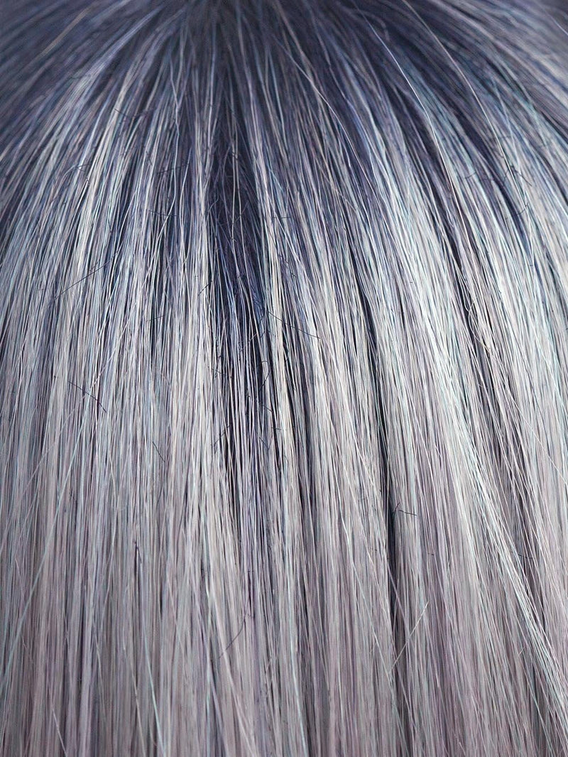 PASTEL-BLUE-R | Pastel periwinkle tone base with a dark black/purple root