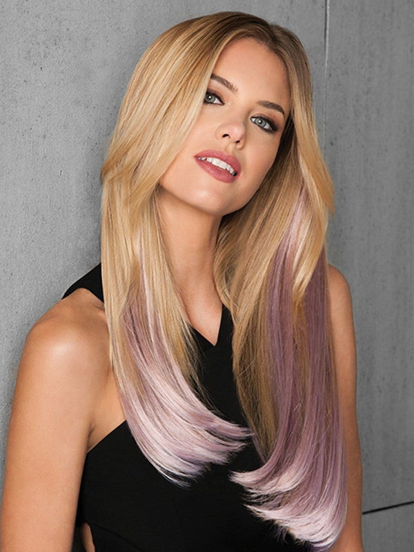 6 PC STRAIGHT CLIP-IN COLOR EXTENSION KIT by hairdo in PINK FROST