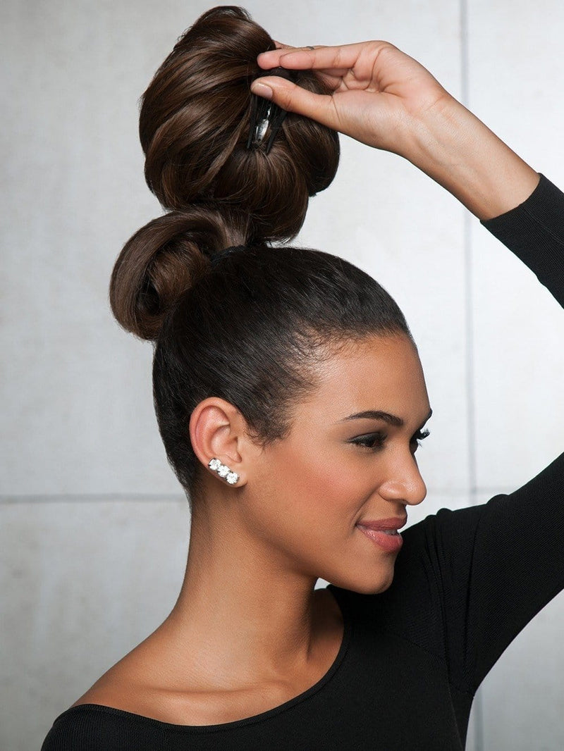 GLAMOUR CHIGNON by Hairdo in R10 CHESTNUT | Rich Medium Brown with subtle Golden Brown Highlights Throughout
