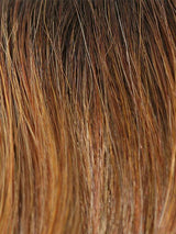 HONEY BROWN-R | Dark Roots on a warm medium brown base with Auburn and Honey Highlights