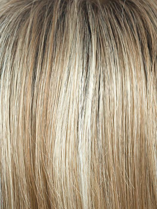 SUGAR-CANE-R | Rooted Platinum Blonde and Strawberry Blonde Evenly Blended Base with Light Auburn Highlights