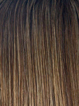 ICED-MOCHA-R | Medium Brown Base Blended with Light Blonde Highlights and Dark Roots