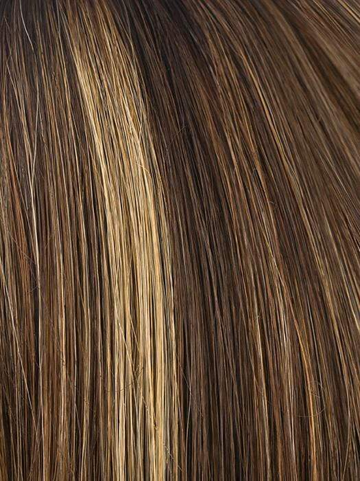 ALMOND-ROCKA-R | Dark Golden Brown base color with Strawberry Blonde and Bright Cooper evenly blended highlights with Dark Roots