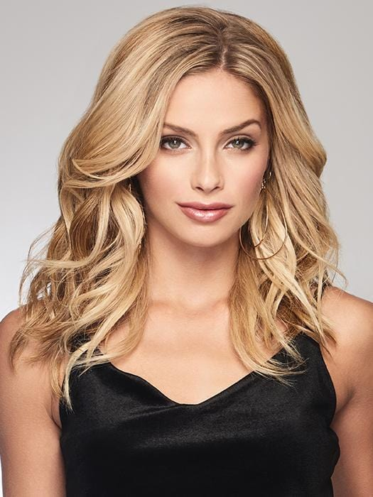 "The Alpha Wave 16"" Hair Topper by Raquel Welch is a versatile top-of-head piece that reflects today's trending loose wave texture"