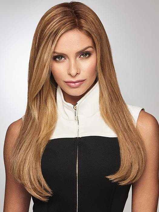 "The Gilded 18"" hair topper by Raquel Welch has an ample base that conceals fine or thinning hair at the crown with extra volume"