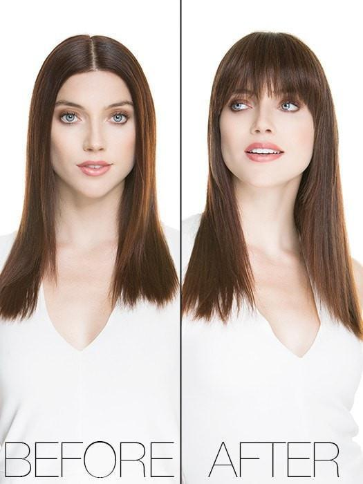 TREU by Ellen Wille | Model Before & After | CHOCOLATE MIX | Medium to Dark Brown Base with Light Reddish Brown Highlights