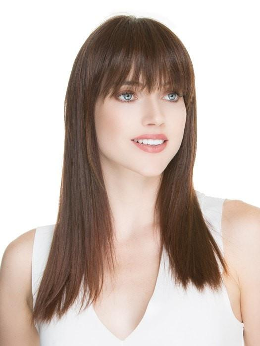For a more customized look, have your stylist trim the bangs for a more blunt look