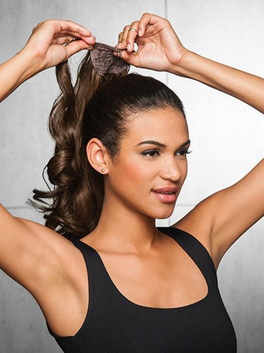 Wraps around your own hair to create a longer, fuller ponytail