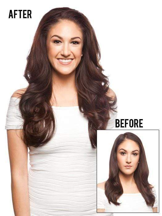 Sydney 3/4 Fall Straight Comb Hairpiece | Before and After