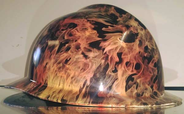 Fireman helmet with yellow, orange, red fade base and Ghost Flames hydro film.