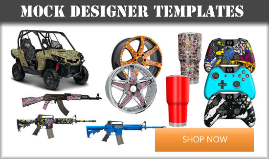 Mock designer templates allow for showing designs on an item before actually dipping.