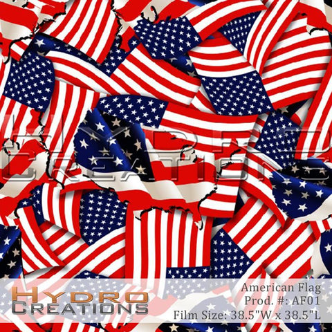 American Flag design hydro film - product image.