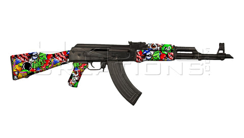 AK47 Mock Designer Template with Cartoon Design overlay.