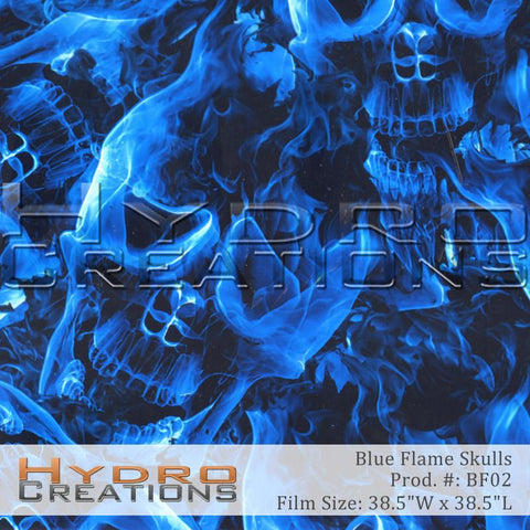 Blue Flame Skulls design hydro film - product image.