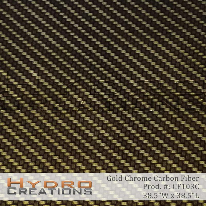 Gold Chrome Carbon Fiber - Hydro film for hydro dipping and water transfer printing - HydroCreations