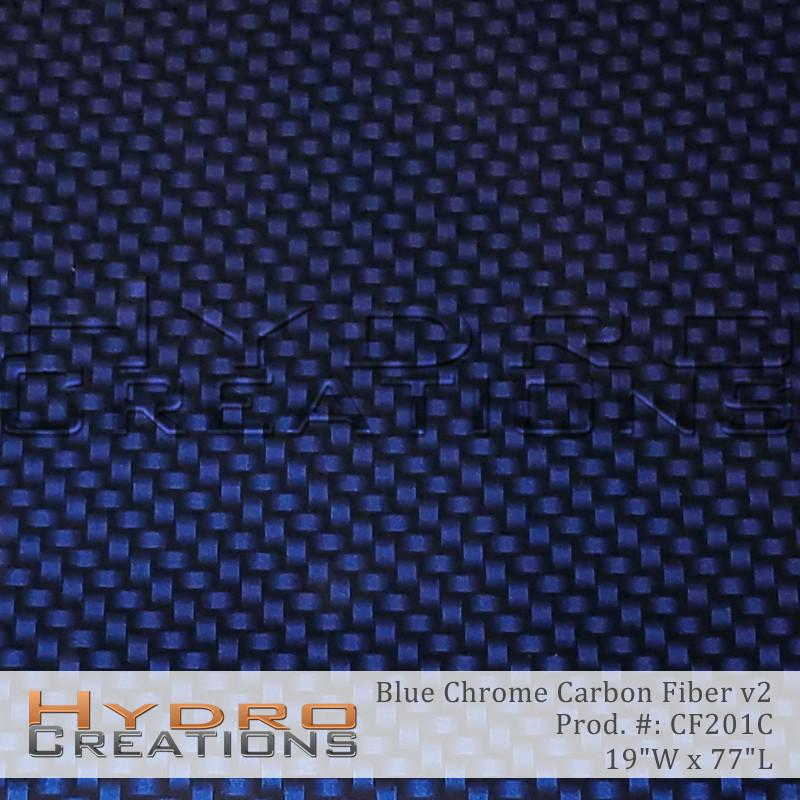 Blue Chrome Carbon Fiber v2 - Hydro film for hydro dipping and water transfer printing - HydroCreations