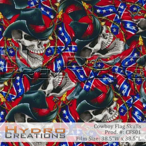 Cowboy Flag Skulls design hydro film - product image.