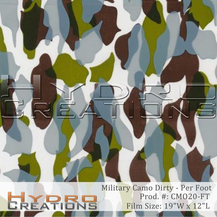 Military Camo Dirty - Per Foot - Hydro film for hydro dipping and water transfer printing - HydroCreations