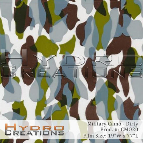 Dirty Military Camo design hydro film - product image.