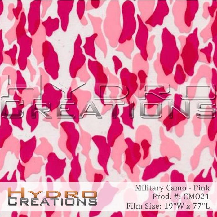 Military Camo - Pink - Hydro film for hydro dipping and water transfer printing - HydroCreations