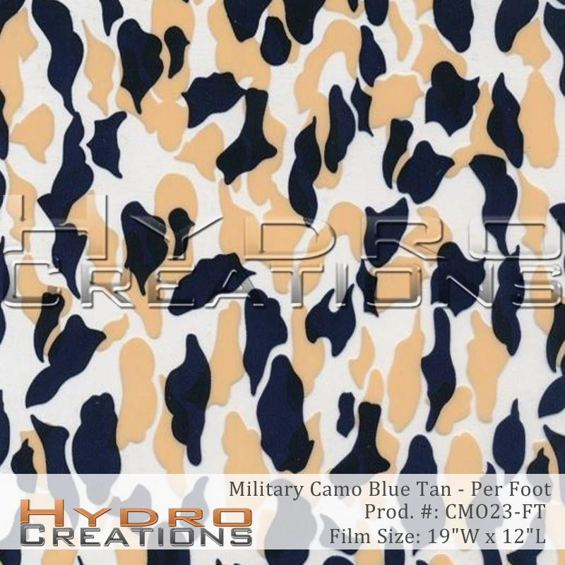 Military Camo Blue Tan - Per Foot - Hydro film for hydro dipping and water transfer printing - HydroCreations
