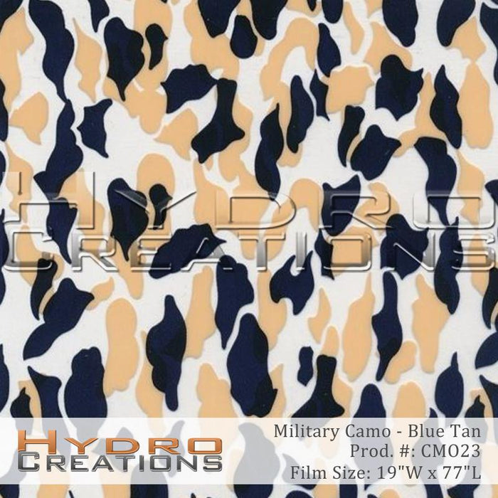 Military Camo - Blue Tan - Hydro film for hydro dipping and water transfer printing - HydroCreations