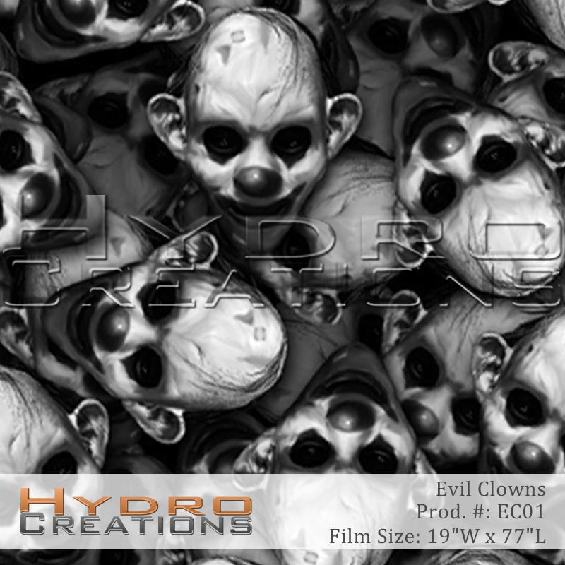 Evil Clowns - Hydro film for hydro dipping and water transfer printing - HydroCreations