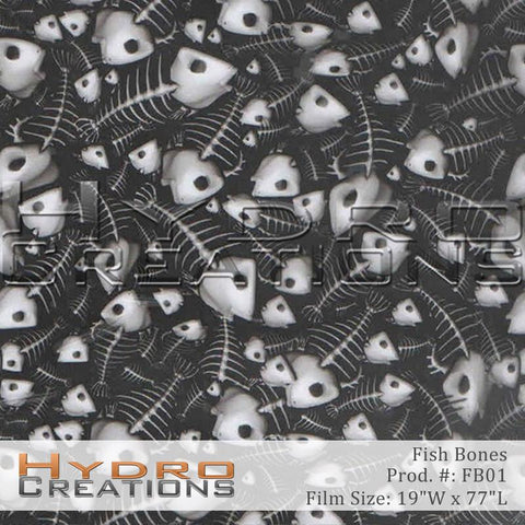 Fish Bones Skeleton design hydro film - product image.