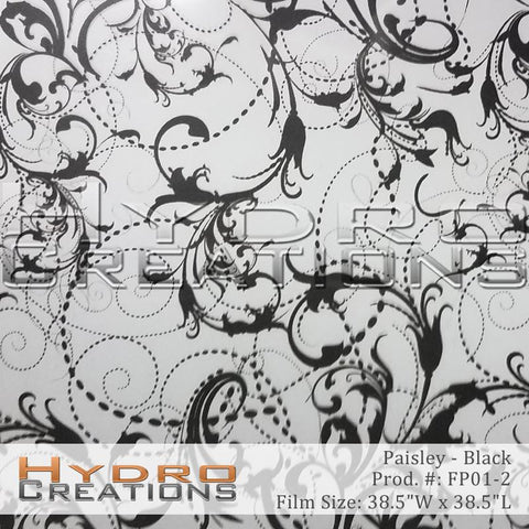 Black Paisley design hydro film - product image.
