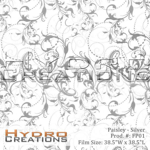 Paisley Silver design hydro film - product image.